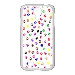 Paw Prints Background Samsung Galaxy S4 I9500/ I9505 Case (white)