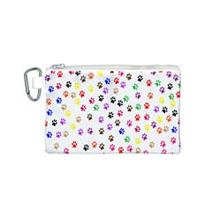 Paw Prints Background Canvas Cosmetic Bag (S)