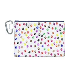 Paw Prints Background Canvas Cosmetic Bag (m)
