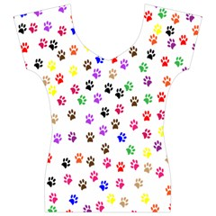 Paw Prints Background Women s V-Neck Cap Sleeve Top