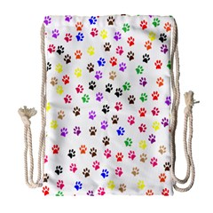 Paw Prints Background Drawstring Bag (Large)
