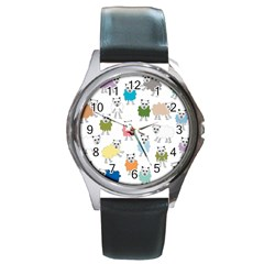 Sheep Cartoon Colorful Round Metal Watch