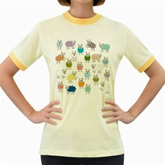 Sheep Cartoon Colorful Women s Fitted Ringer T Shirts