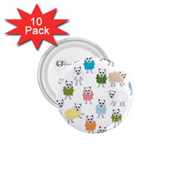 Sheep Cartoon Colorful 1 75  Buttons (10 Pack)