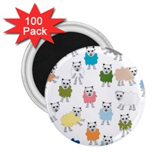 Sheep Cartoon Colorful 2 25  Magnets (100 Pack)