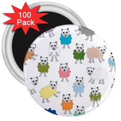 Sheep Cartoon Colorful 3  Magnets (100 Pack)