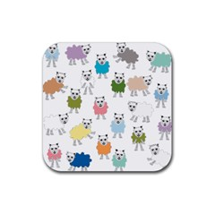 Sheep Cartoon Colorful Rubber Square Coaster (4 Pack)