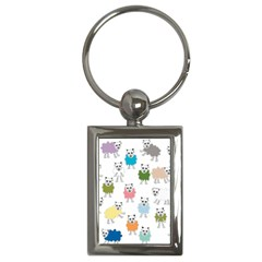 Sheep Cartoon Colorful Key Chains (Rectangle)
