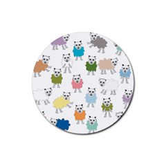 Sheep Cartoon Colorful Rubber Round Coaster (4 Pack)