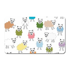 Sheep Cartoon Colorful Magnet (Rectangular)