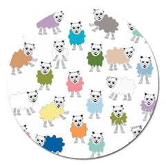 Sheep Cartoon Colorful Magnet 5  (round)