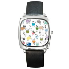 Sheep Cartoon Colorful Square Metal Watch