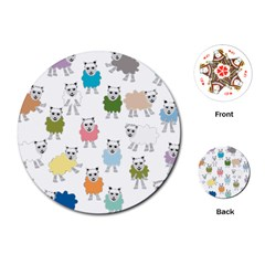 Sheep Cartoon Colorful Playing Cards (round)