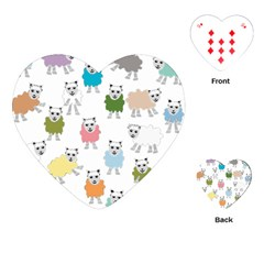 Sheep Cartoon Colorful Playing Cards (heart)
