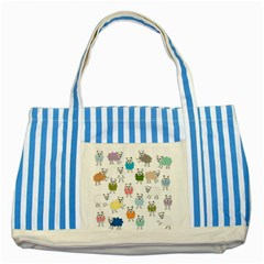 Sheep Cartoon Colorful Striped Blue Tote Bag