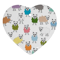 Sheep Cartoon Colorful Heart Ornament (two Sides)