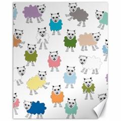 Sheep Cartoon Colorful Canvas 11  x 14