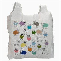 Sheep Cartoon Colorful Recycle Bag (one Side)
