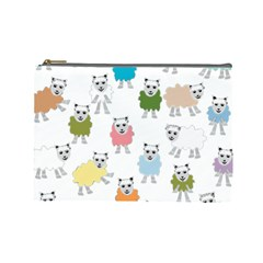 Sheep Cartoon Colorful Cosmetic Bag (large)