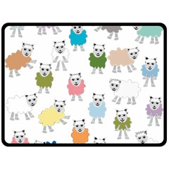 Sheep Cartoon Colorful Fleece Blanket (large)