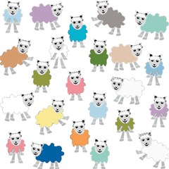 Sheep Cartoon Colorful Magic Photo Cubes