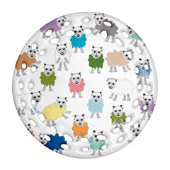 Sheep Cartoon Colorful Round Filigree Ornament (two Sides)