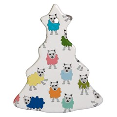 Sheep Cartoon Colorful Christmas Tree Ornament (Two Sides)