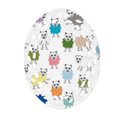 Sheep Cartoon Colorful Ornament (oval Filigree)