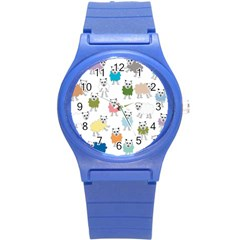 Sheep Cartoon Colorful Round Plastic Sport Watch (S)