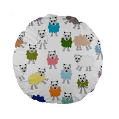 Sheep Cartoon Colorful Standard 15  Premium Round Cushions