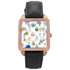 Sheep Cartoon Colorful Rose Gold Leather Watch