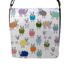 Sheep Cartoon Colorful Flap Messenger Bag (l)