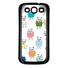 Sheep Cartoon Colorful Samsung Galaxy S3 Back Case (Black)