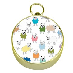 Sheep Cartoon Colorful Gold Compasses
