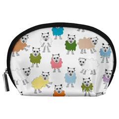 Sheep Cartoon Colorful Accessory Pouches (Large)