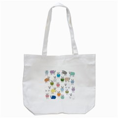Sheep Cartoon Colorful Tote Bag (White)