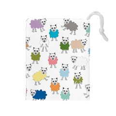Sheep Cartoon Colorful Drawstring Pouches (large)