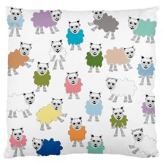 Sheep Cartoon Colorful Standard Flano Cushion Case (two Sides)
