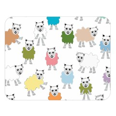 Sheep Cartoon Colorful Double Sided Flano Blanket (large)