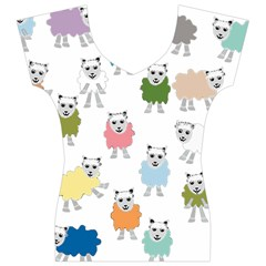 Sheep Cartoon Colorful Women s V-Neck Cap Sleeve Top
