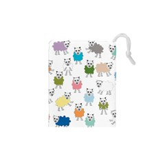 Sheep Cartoon Colorful Drawstring Pouches (xs)