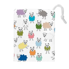 Sheep Cartoon Colorful Drawstring Pouches (extra Large)