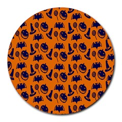 Witch Hat Pumpkin Candy Helloween Blue Orange Round Mousepads