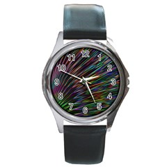 Texture Colorful Abstract Pattern Round Metal Watch