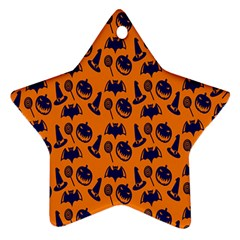 Witch Hat Pumpkin Candy Helloween Blue Orange Star Ornament (Two Sides)