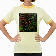 Texture Colorful Abstract Pattern Women s Fitted Ringer T Shirts