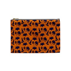 Witch Hat Pumpkin Candy Helloween Blue Orange Cosmetic Bag (Medium)