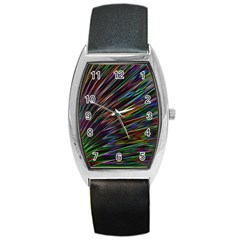 Texture Colorful Abstract Pattern Barrel Style Metal Watch
