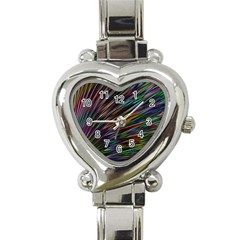 Texture Colorful Abstract Pattern Heart Italian Charm Watch
