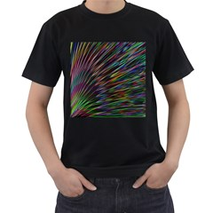Texture Colorful Abstract Pattern Men s T Shirt (black) (two Sided)